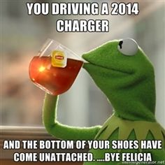 Kermit The Frog Drinking Tea - You driving a 2014 Charger And the bottom of your shoes have come unattached. ....bye Felicia