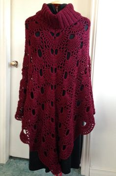 Crochet Virus Poncho with Cowl in Burgundy, Dark Red Turtleneck Poncho for Fall and Winter, makes lovely gift for Her, Women, Teens,Children
