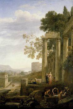 Claudio de Lorena - Paisaje con el entierro de Santa Serapia (Museo Nacional del Prado)