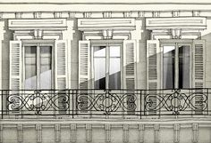 Paris illustration - Paris balcony - Fine art illustration,Fine art prints,Art Posters,Paris art,Paris decor,Wall art,wall decor,grey,white I love these!  Wouldn't a set of them look great in a well-lit hallway???