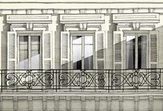 Paris illustration Paris balcony Fine art por tubidu en Etsy