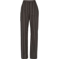 BalenciagaStriped Cotton-poplin Straight-leg Pants (€755) ❤ liked on Polyvore featuring pants, black, stripe pants, striped trousers, straight leg trousers, striped pants and balenciaga