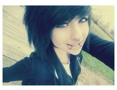 cute black hair, bangs, snakebites, septum piercing