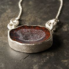 One of a Kind - Red Geode Druzy Necklace in Sterling Silver