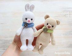 Cuddle Me Bunny and Bear amigurumi patterns - crochet pattern Crochet Amigurumi, Crochet Teddy, Cute Crochet, Amigurumi Doll, Crochet Dolls, Crochet Baby, Crochet Bunny Pattern, Crochet Rabbit, Crochet Patterns Amigurumi