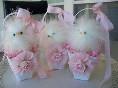 Easter Chick In a Lace Basket Easter Decoration by JeanKnee, $12.00
