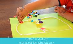 Easy toddler craft- glue cool objects to each letter of the alphabet. Doing this when its time to learn our abc's