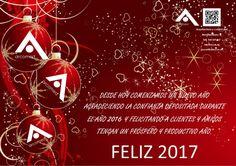 Desde hoy comenzamos un nuevo año agradeciendo la confianza depositada en el año 2016 y felicitando a clientes y amigos tengan un próspero y productivo año 2017