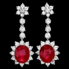 Oval Shaped Ruby And Round Diamond Earrings Set In 14k Solid White Gold