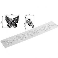 Silikomart Tricot Decor Silikon-Matte 40 x 8 cm, Schmetterling