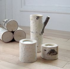 Birch Candle holders $26.00 #etsy #candle #birch