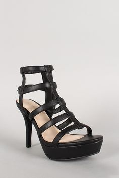 Bamboo Leatherette Strappy Caged Open Toe Platform Heel. Available for $46.64 at: http://stores.ebay.com/theofferbazaar And  http://shopdirectonline.net/