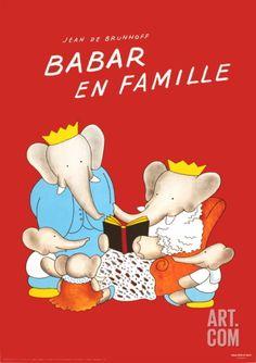Babar en Famille Art Print by Jean de Brunhoff at Art.com