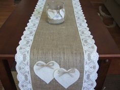 Burlap table runner with lace and hearts wedding table runner table decor