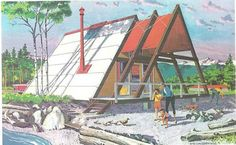 A-fram cabin, 1960s catalog of vacation houses promoting the use of Douglas Fir Plywood via Retro Renovation