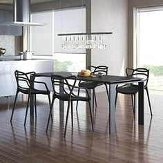 Set of 4 Modern Contemporary Plastic Stackable Design Masters Chair Dining Arm Chairs Outdoor Living Room Patio Garden Black Dining Room Chairs, Outdoor Dining Chairs, Outdoor Armchair, Dining Set, Outdoor Living, Kitchen Sets, Living Room Kitchen, Kitchen Dining, Space Saving Furniture