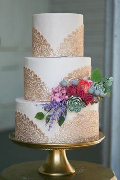gold lace doily fall wedding cake by erica obrien