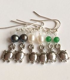 Silver Sea Turtle Earrings Plated Hypo-allergenic Jade Freshwater Pearl Nautical #turtle #seaturtles #seaturtlejewelry  #turtlejewelry