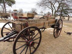 Antique Horse-Drawn Wagon Full Size Western High Wood Wheel Newton Buckboard