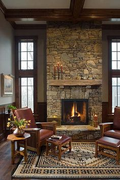 The Architectural Studio is a full service Architectural & Interiors firm which specializes in vacation, luxury & estate custom homes in North Carolina. Cabin Fireplace, Rustic Fireplaces, Fireplace Remodel, Fireplace Design, Fireplace Makeovers, Fireplace Stone, Fireplace Mantles, Mantels, Stacked Stone Fireplaces