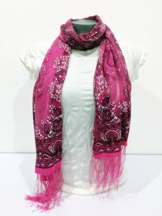 Nepal Hand Made Silky Lace Shawl Scarf Red
