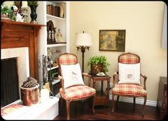 The Old Painted Cottage...love these chairs in plaid.