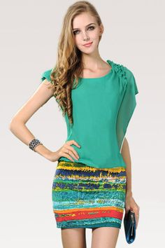 Anomalous Falbala Green Chiffon Dress