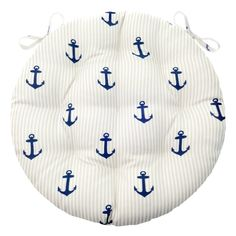 Anchor Stripe Bistro Chair Pad - Round Cushion with Ties - Indoor / Outdoor Round Chair Cushions, Bar Stool Cushions, Rocking Chair Cushions, Bistro Patio Set, Bistro Chairs, Outdoor Dining, Indoor Outdoor, Dining Area, Overstock Dining Chairs