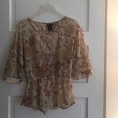 Sheer peplum top, flower print Very flattering top, lightweight for summer or layering in fall! Love the color pallet - looks great with white jeans or army green! Nordstrom Tops Blouses
