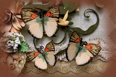 Harmony Butterflies~ With all those warm Autumn Colors, these butterflies make a perfect embellishment for Fall Paper Crafting Projects, decorations for Fall Weddings, Teas and Showers, or put them in your Fall Home Decor for instant dimension and a unique look~ https://www.etsy.com/listing/108337694/butterfly-set-harmony-butterflies?ref=shop_home_active
