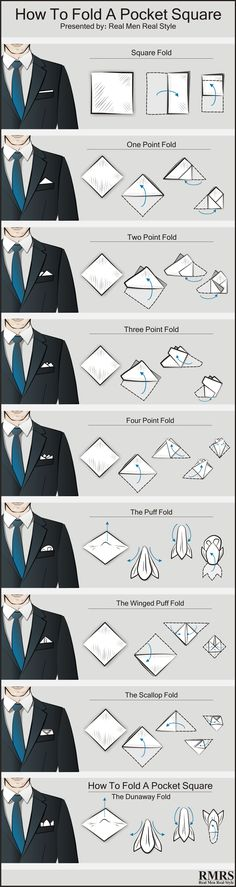 Are you wondering why you'd wear a pocket square? Step-by-step instructions for every pocket square fold you could ever want! Are you wondering why you'd wear a pocket square? Step-by-step instructions for every pocket square fold you could ever want! Mens Style Guide, Men Style Tips, Mens Fashion Suits, Fashion Outfits, Fashion Tips, Fashion Fashion, Fashion Shoes, Fashion Ideas, Men's Outfits