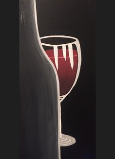 Wine bottle and wine glass painting on canvas