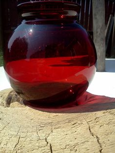 Tabletop Driftwood Art with Antique Red Glass Candle Holder