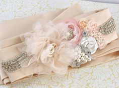 Bridal Sash Sash in Nude Latte Ivory and Blush with by SolBijou, $230.00