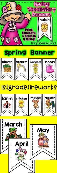 SPRING VOCABULARY BANNER! https://www.teacherspayteachers.com/Product/SPRING-Vocabulary-BANNER-2450123  Vocabulary Banner for SPRING! Words & Pictures on single banners. 2 on a page for printing. Some EXTRA Large for Themes.  Can be used for writing centers, ESL vocabulary, Sorts, Science  Spring themed ...48 BANNERS included!