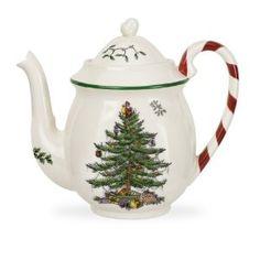 Spode Christmas Tree Candy Cane Teapot #Spode Christmas