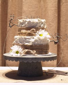 Rustic Farm Wedding Cake With Daryl's Rock and Wire Works Rock Climber Cake Toppers