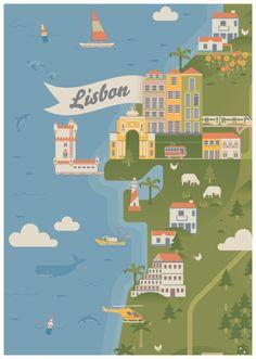 Lisbon map by Radio Lisbon Map, Pub, Travel Illustration, City Maps, Vintage Travel Posters, Cool Posters, Plans, Vintage Advertisements, Travel Inspiration
