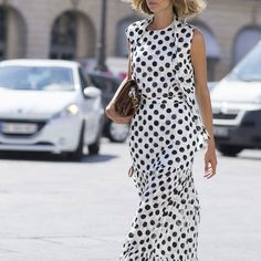 Trends with Benefits: 3 Runway Motifs That Are Sticking Around - Fat Lose Diet Wide Jeans, Polka Dot Shirt, Polka Dots, Day Designer, White Dress Summer, Summer Dresses, Satin Shorts, Phoebe Philo, Triangle Bikini Top