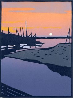 """Blakeney Sunset"" / water, boat - 3 block lino print - Colin Moore, U. Linocut Prints, Art Prints, Block Prints, Linoprint, Wood Engraving, Woodblock Print, Contemporary Art, Contemporary Printmaking, Graphic Art"