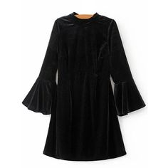 Cut Out Velvet Bell Sleeve Dress (36 BAM) ❤ liked on Polyvore featuring dresses, rosegal, cutout dresses, cut-out dresses, bell sleeve dress, flared sleeve dress and velvet dress