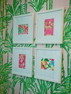 DIY dorm decor ~ make your own lilly art from calendar, agenda or fabric prints!
