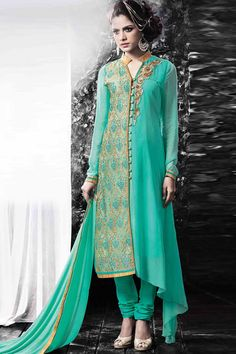 Georgette Churidar Suit With Dupatta georgette, semi stictch churidar suit. Allover embroidered with embroidered, zari and stone work.  Collar neck, Below knee length, full sleeves kameez.   Green santoon churidar with embroidered, zari and stone work.   Green chiffon dupatta with lace border with work.  Product are available in 34,36,38,40,42,44 sizes. It is perfect for casual wear, festival wear, party wear and wedding wear. http://www.andaazfashion.com.my/salwar-kameez/churidar-suits