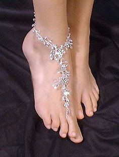 Bridal Party Crystal Rhinestone Barefoot Jewelry Beach Wedding
