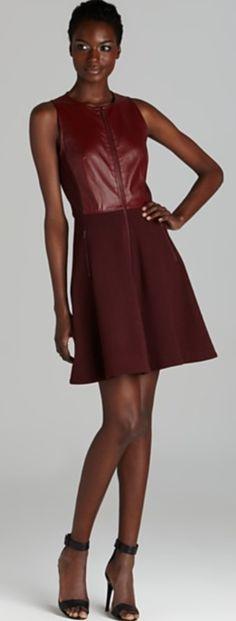 Tibi Sleeveless Leather Combo Dress