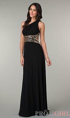 One Shoulder Floor Length Dress with Cut Out Back at PromGirl.com Senior  Prom Dresses 02af04cf1aa1