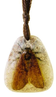 """Amalric Walter necklace, pate-de-verre with bug in orange, black and yellow on a clear ground, incised initials, pendant is 1.75""""l     SOLD $1,100 Treadway, Dec 2001"""