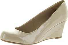 nice Forever Link Women's DORIS-22 Patent Round Toe Wedge Pumps
