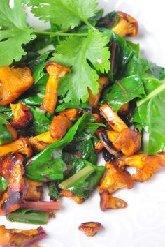 chanterelles and swiss chard