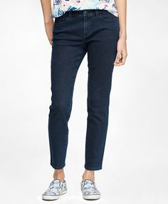 Five Pocket jeans in a dark wash that can be worn with a collared shirt and blazer for teaching.